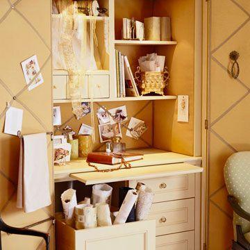 Behind Closed Doors...armoire craft area: Crafts Desks, Crafts Area, Sewing Rooms Storage, Crafts Rooms, Crafts Spaces, Crafts Storage, Close Doors, Closet Desks, Craft Rooms