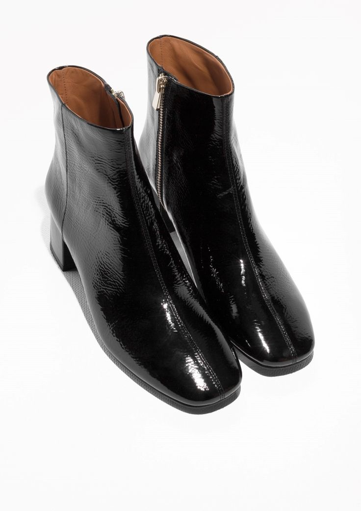 Other Stories image 2 of Glossy Leather Ankle Boots in Black