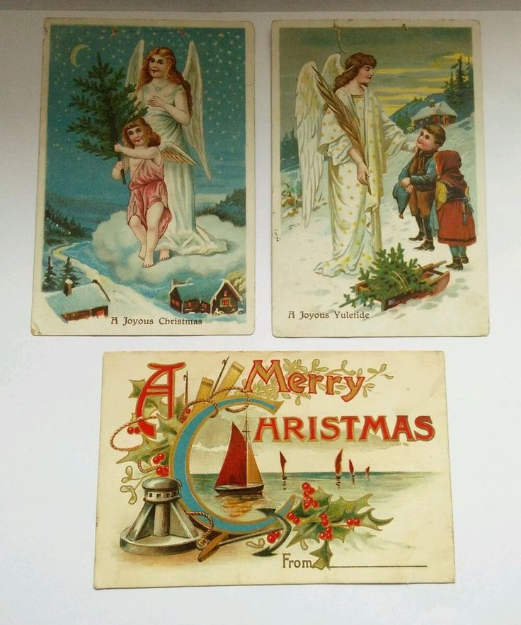 Vintage Old Postcards Christmas theme x3 Job Lot of Used items, Standard sizes.