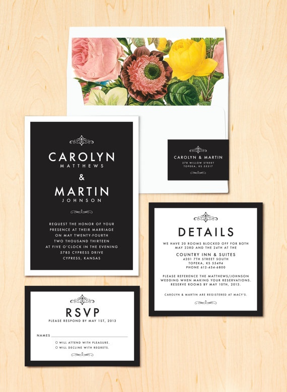 Modern Elegant Wedding Invitation  Sample by QuiteFetchingInvites, $4.00
