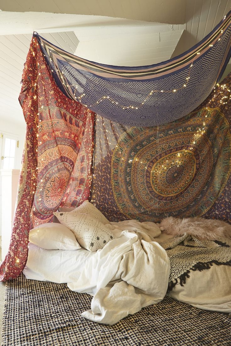 Urban Outfitters - Blog - UO DIY: Tapestry Canopy. This would be a dorm come true! #UOonCampus #UOcontest