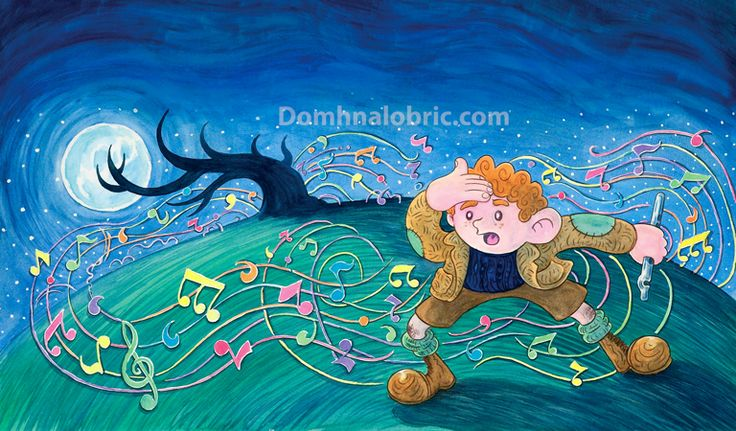Colm an Cheoil - On Fairy Hill' - an illustration from the book 'Colm an Cheoil' (Colm of the Music) in which a young boy goes astray on Hallowe'en and meets and plays his whistle with the fairy host...but will he ever be able to return home once entranced by their enchanting music?