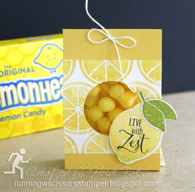Stampin' Up Lemon Zest by #RunningwScissorsStamper, Candy Packaging