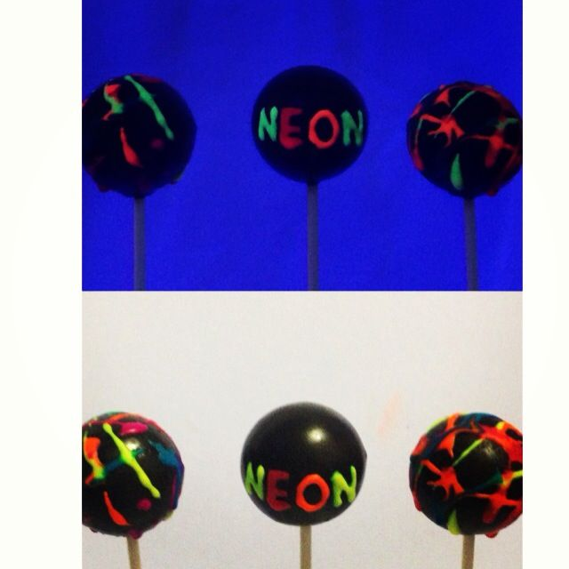 Glow in the dark neon cake pops!