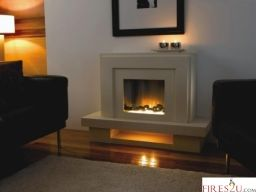 Flamerite Lazio electric fireplace suite is shown in Ivory Cream finish and is a modern freestanding electric fire.  Multifunction remote control including dimmer and Discreet alternative manual override control panel  Choice of fuel effects: White Pebbles as standard or with Twigs set as a cost option see below  Hidden heater with 2 heat settings 750w/1500w  Energy saving LED long-life bulbs