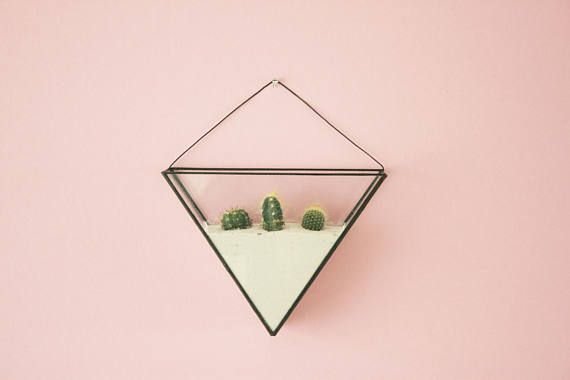Geometric wall terrarium including terrarium kit - Indoor wall planter - Succulent - Modern planter - Stained glass - Modern home decor