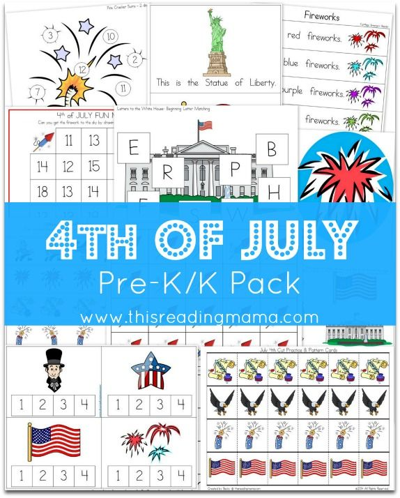 FREE 4th of July Learning Pack {for Pre-K/K} with TWO emergent readers, rhyming and syllable activities, fine motor activities, and more! | This Reading Mama