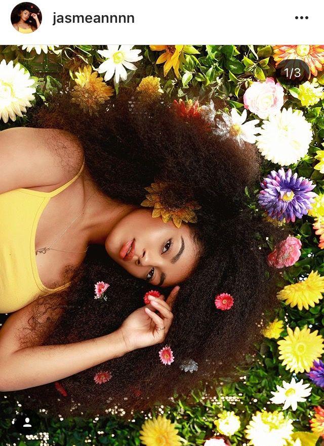 Jasmean Brown Flowers In Natural Curly Hair Hair Photography Curly Hair Styles Natural Hair Styles