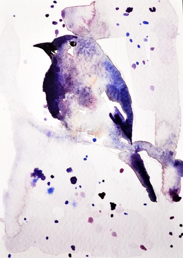 Bird on Branch by Maria Kitano