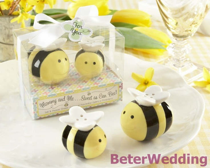 Wedding Favor Mommy and Me Sweet as Can Bee Ceramic Honeybee Salt and Pepper Shakers TC019 #weddingfavors, #babyshowerfavors, #Thank you gifts #weddingdecoration #jars #weddinggifts #birthdaygift #valentinesgifts #partygifts #partyfavors #novelties #Souvenirs #BeterWedding