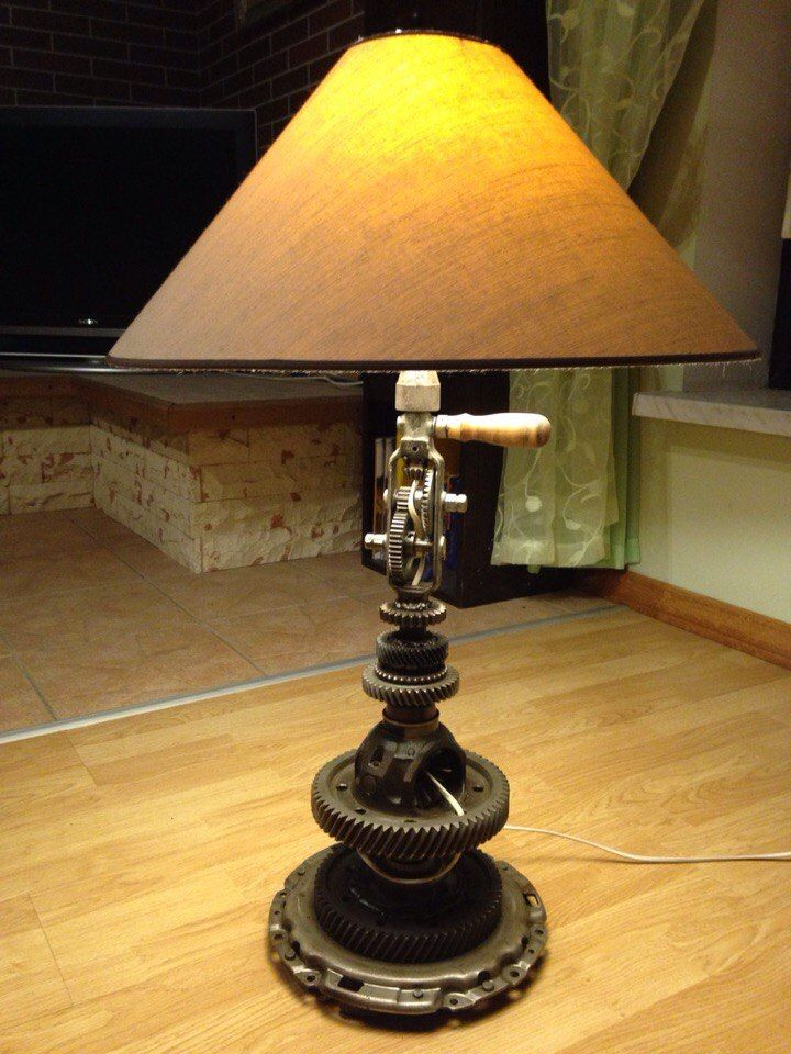 Table lamp from automotive parts and a hand drill, with shade 250$