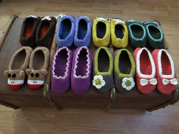 crochet slippers- THESE SLIPPERD ROCK!! My Grandma used to make them for us every Christmas :) -Pam