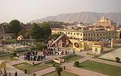 The Jantar Mantar is a collection of architectural astronomical instruments, built by Sawai Jai Singh who was a Mughal Commander and served Emperor Aurangzeb and later Mughals. The title of (King) and Sawai was bestowed on him by Emperor Mohammad Shah. Jai Singh II of Amber built his new capital of Jaipur between 1727 and 1734. It is also located in Ujjain and Mathura.