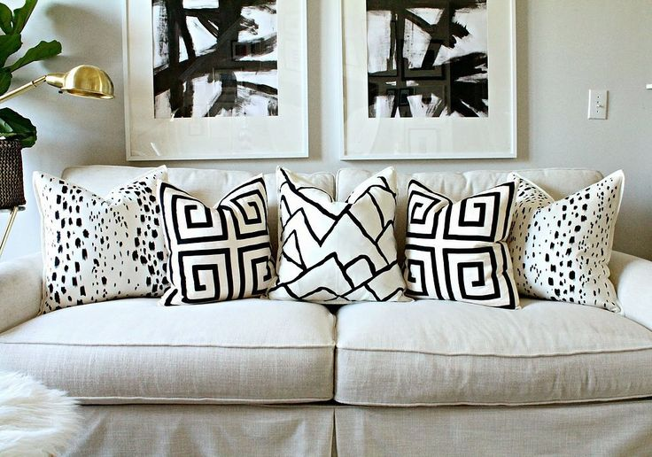Painted Pillow DIY | POPSUGAR Home a plain pillow cover and some fabric paint result in a seriously chic look