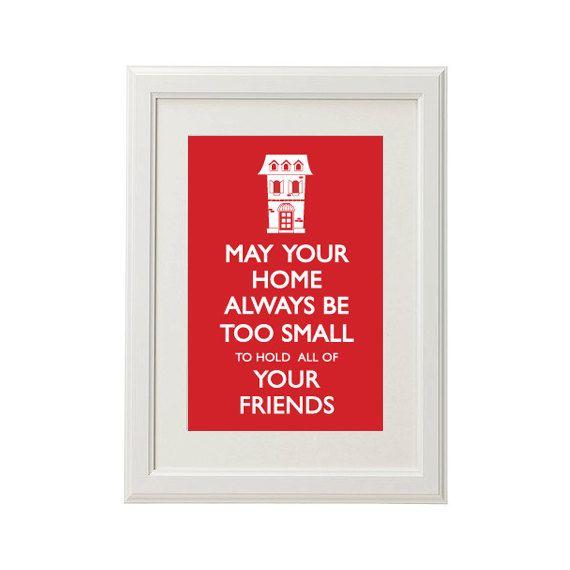 Housewarming / Wedding Gift - Inspirational Irish Quote -Typographical Print - A4. $25.00, via Etsy.