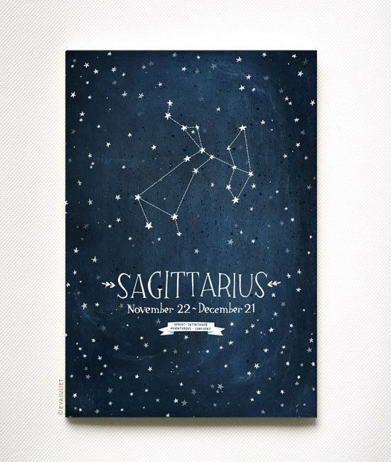 Personalized Zodiac Constellation print - 13 x 19 - Twelve Astrological signs available. $40.00, via Etsy.