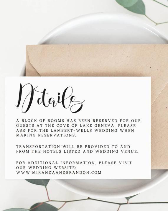 Wedding Details Card Template Wedding Information Card Etsy Wedding Details Card Diy Wedding Templates Wedding Enclosure Cards
