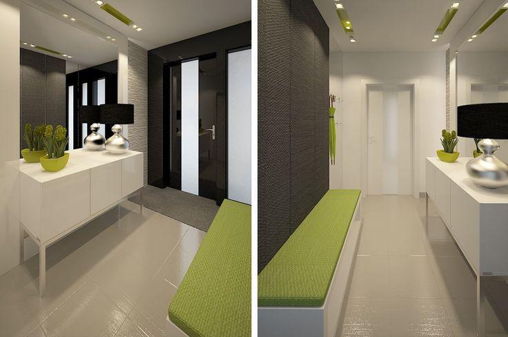 Przedpokoj projekt #9395456. Elegancki i bardzo gustowny przedpokój, który Claudia Tworo postanowiła urządzić z klasą i smakiem. Białe pomieszczenie rozświetlono mocną zielenią, a dla kontrastu stonowano ciemnymi panelami ściennymi za siedziskiem.