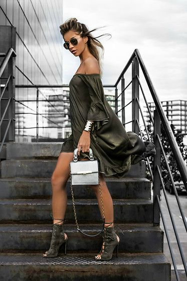 Get this look: http://lb.nu/look/7741158  More looks by Alina Ceuşan: http://lb.nu/alinaceusan  Items in this look:  Ocko Shop Dress, Ego Melissa Boots, Tiara Concept Store Silver Bag, H&M Sunglasses Golden   #army #khaki #military