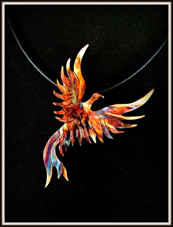 Oxidized copper necklace, phoenix pendant, flame painted phoenix, fire torched copper phoenix, phoenix jewelry, statement necklace, firebird