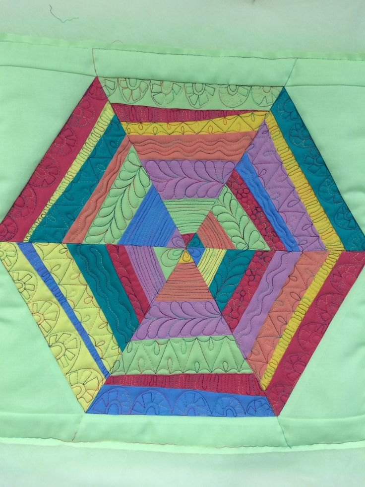 """Spider web block with """"bar quilting."""""""