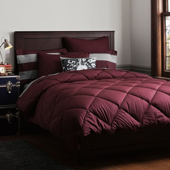 Solid Comforter + Sham, Burgandy | PBteen Not my favorite color, but guessing you will like it.