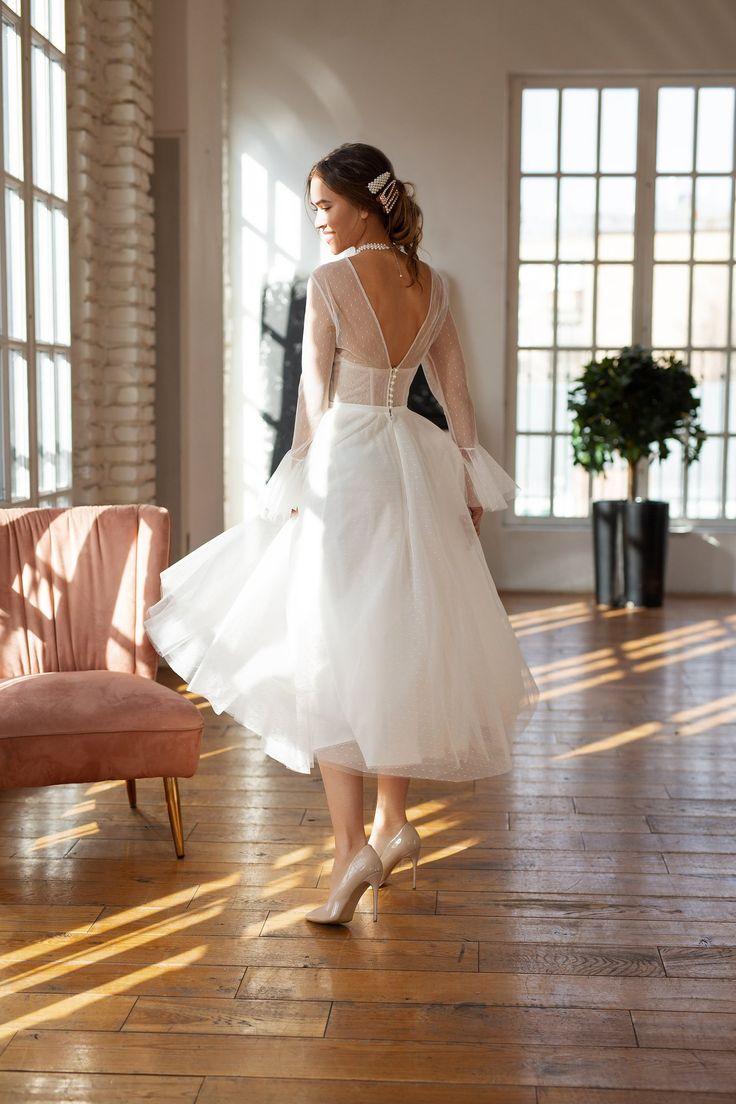 Modest wedding dress, 50s wedding dress, tea length tulle