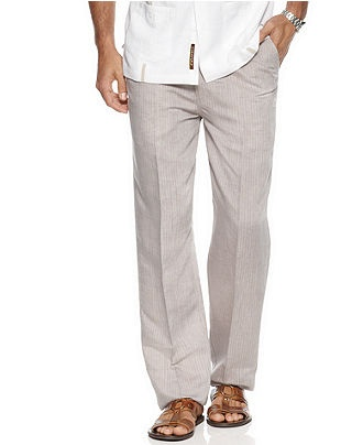 Cubavera Pants, Linen Pinstriped Drawstring Pants - Mens Pants - Macy's