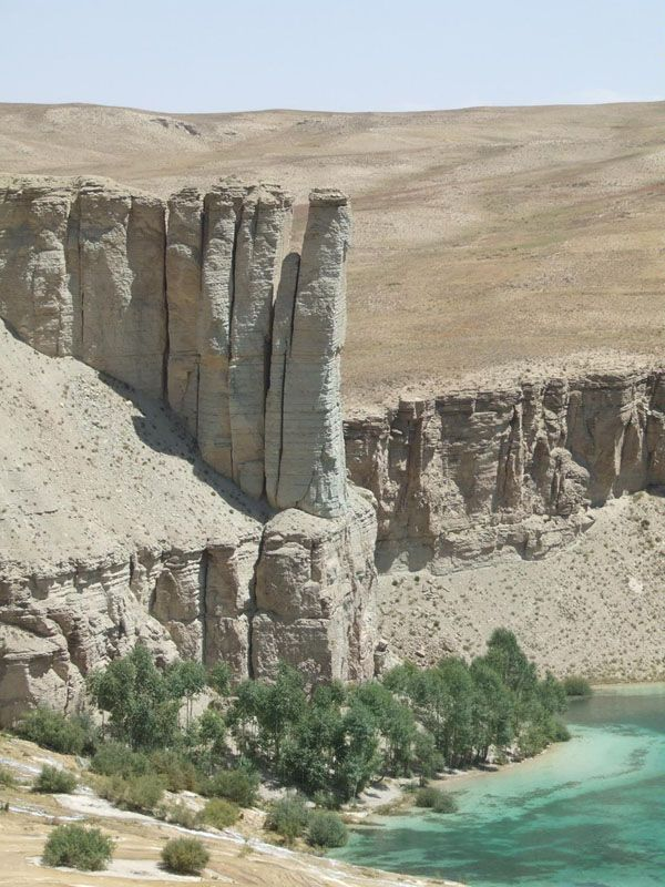 Band-e Amir is one of the rare natural lakes in the world which are created by travertine systems. The site of Band-e Amir has been described as Afghanistan's Grand Canyon, and draws thousands of tourists a year. (V)