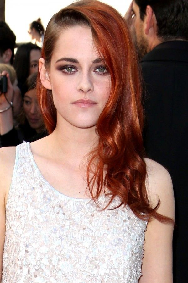 kristen stewart with sweptover red hair all about