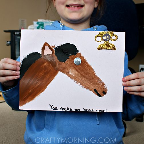 Learn how to make a footprint horse craft for kids! It's a fun art project to make.