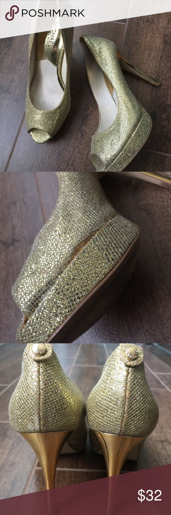 Michael Kors Gold peep toe heels sz 8M Pre owned Michael Kors women's gold peep toe heels sz 8 in good condition. The net on the shoe is lifting a bit but can easily be fixed with glue. Any questions please message me if you have any questions thank you and happy shopping! Michael Kors Shoes Heels