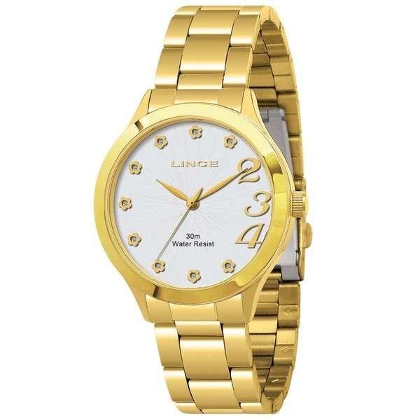 Kit Relógio Feminino Analógico Lince Funny Aço Dourado