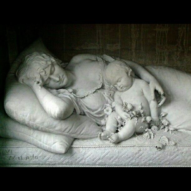Beautiful Cemetery Art- Mother & Child