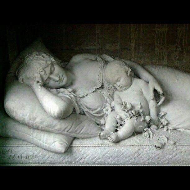 Beautiful Cemetery Art- Mother & Child