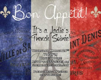Dinner Party Invitation - DIGITAL VERSION - FRENCH themed dinner party, blue, white, red, bon appetite