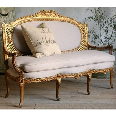 ELOQUENCE www.eloquenceinc.com One of a Kind Vintage Settee Louis XV Rococo from #antique #vintage