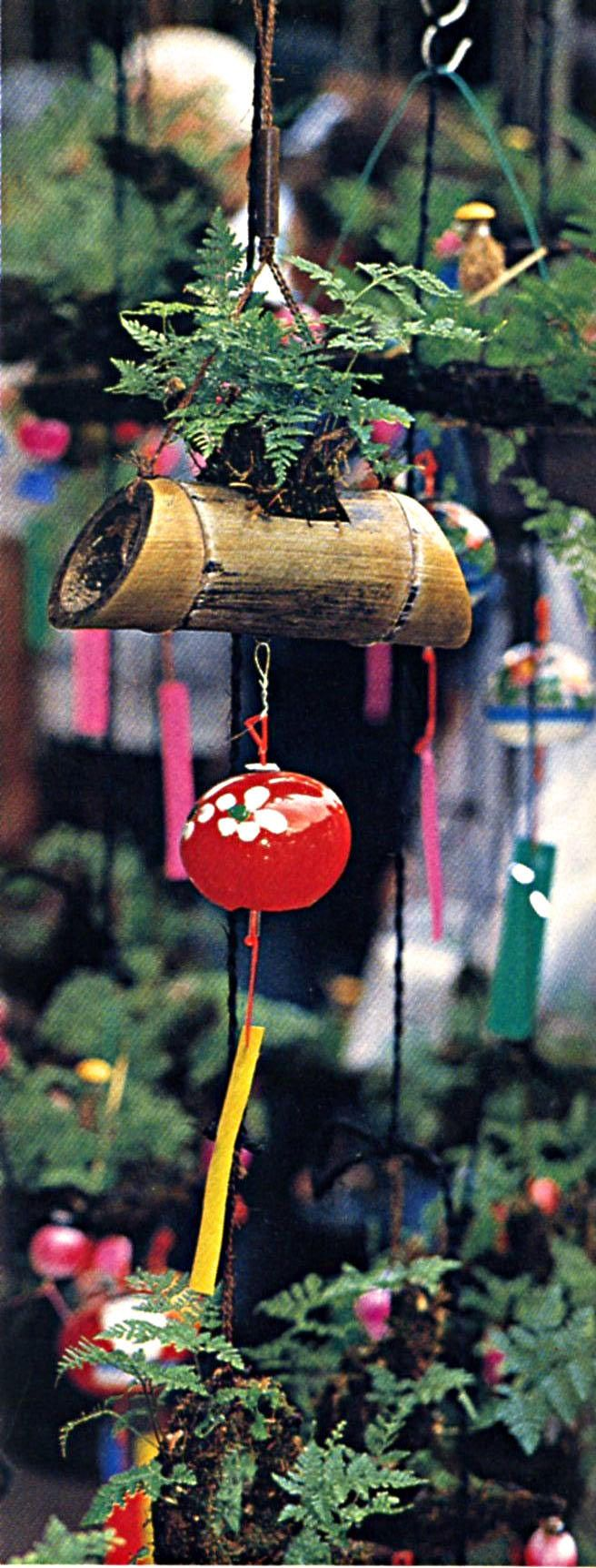 Glass wind chime with bamboo