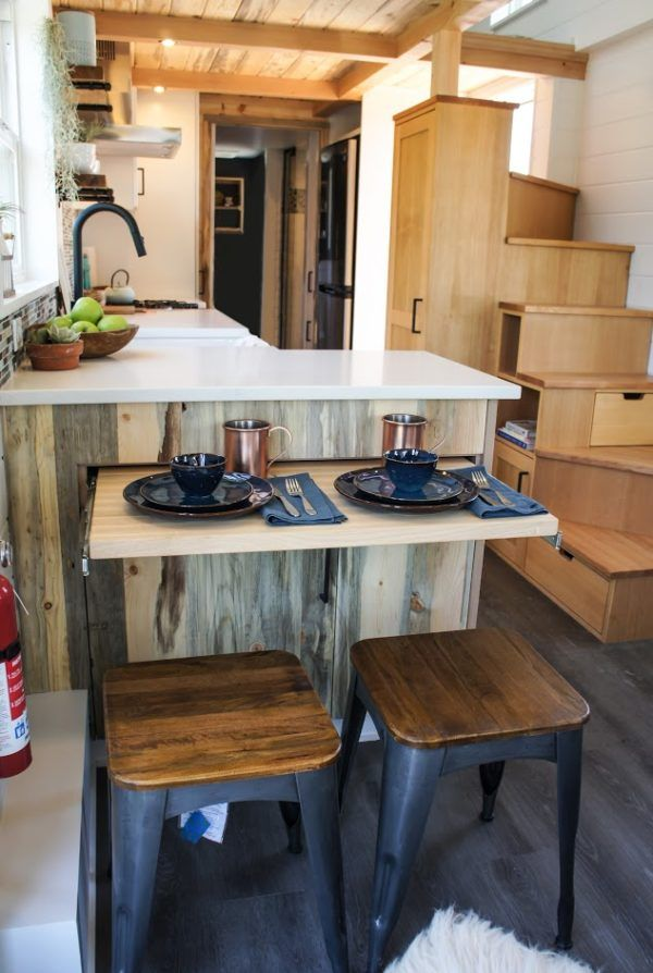 Counter that pops out for eating, but hides to create more room!   28' Kootenay Modern Cottage THOW