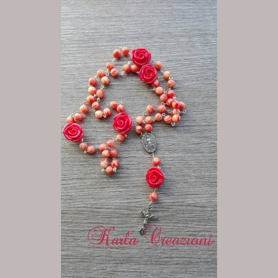 Guarda questo articolo nel mio negozio Etsy https://www.etsy.com/it/listing/474801784/rosario-arancione-polymer-clay-rose