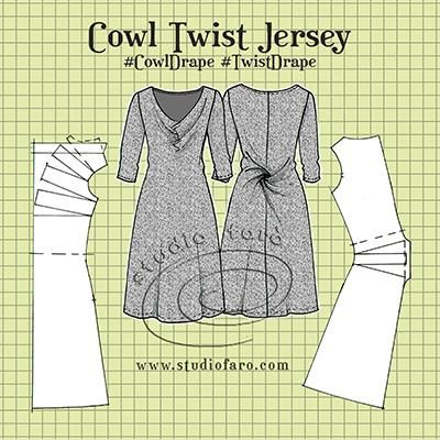 How to draft this cowl twist dress pattern using a knit block sloper.