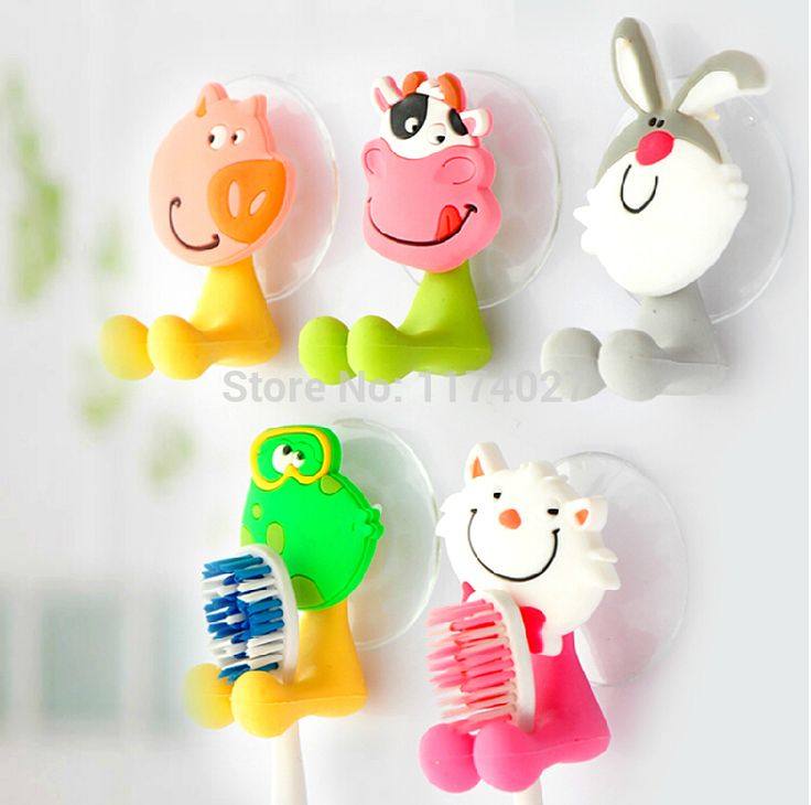 Free shipping cute Cartoon sucker toothbrush holder suction hooks bathroom set accessories Eco-Friendly * Locate the offer simply by clicking the VISIT button