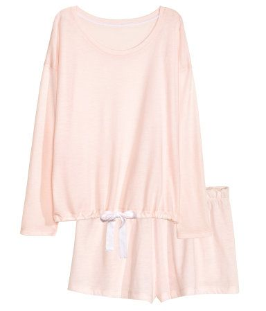 Pyjamas med topp og shorts   Lys rosa   Dame   H&M NO