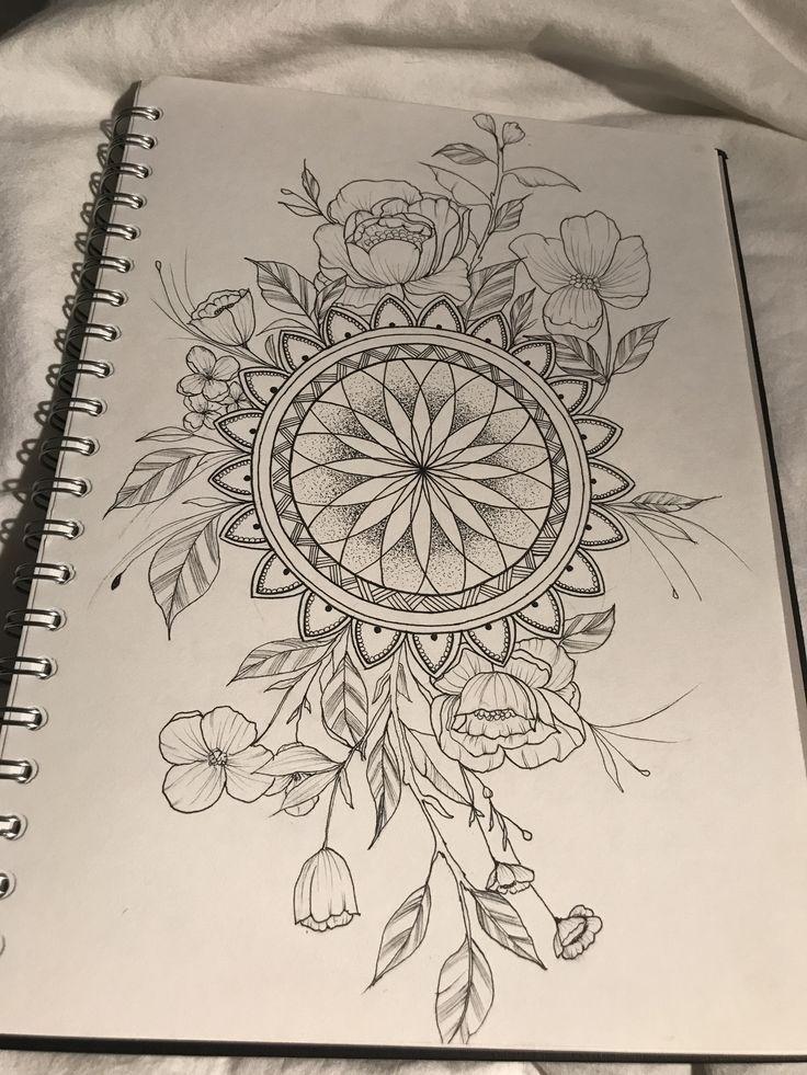 Mandala mit Blumen #Peonien #Peonie #Blumen #Mandala #Tattoo #