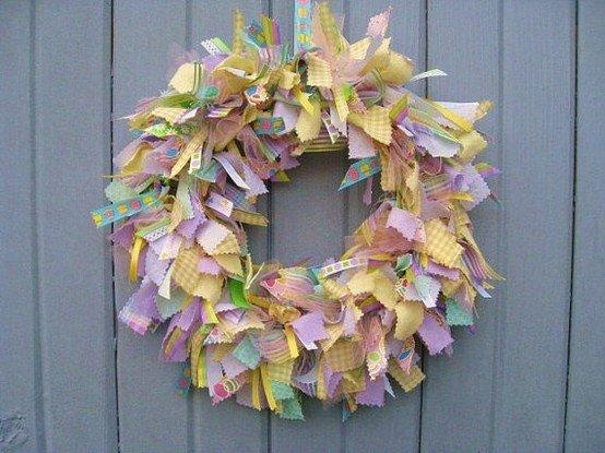 Easter ribbon wreath: Ribbons Wreaths, Easter Crafts, Fabrics Ribbons, Easter Wreaths, Fabrics Wreaths, Spring Wreaths, Ribbon Wreaths, Easter Fabrics, Easter Ideas