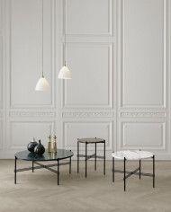 TS tables - small - brown marble, medium - white marble, large - black marble_ Bestlite BL9M pendants - matt white-brass-800x800