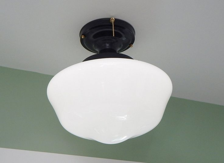 Large Schoolhouse Ceiling Light Black Fixture with Brass Highlights and Pull Chain $185.00 plus shipping