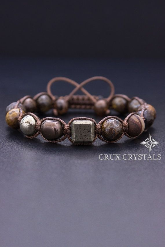 Cubic Men's Shamballa Bracelet Natural Stone by CruxCrystals