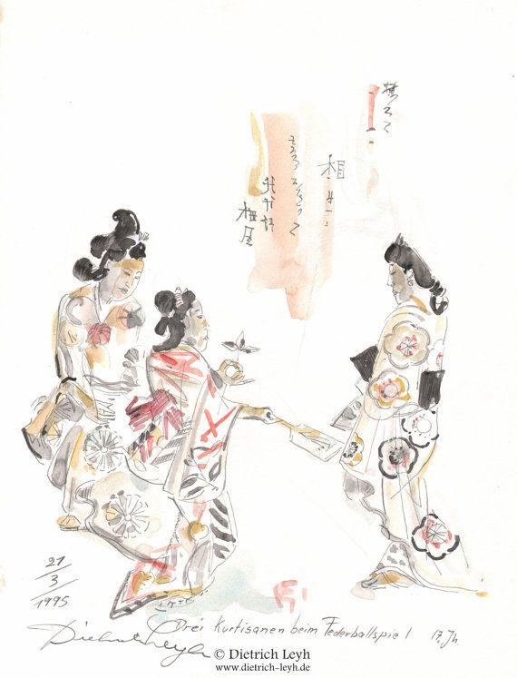 Chinesische Kurtisanen beim Federballspiel von Kunstwelt auf Etsy, €220.00