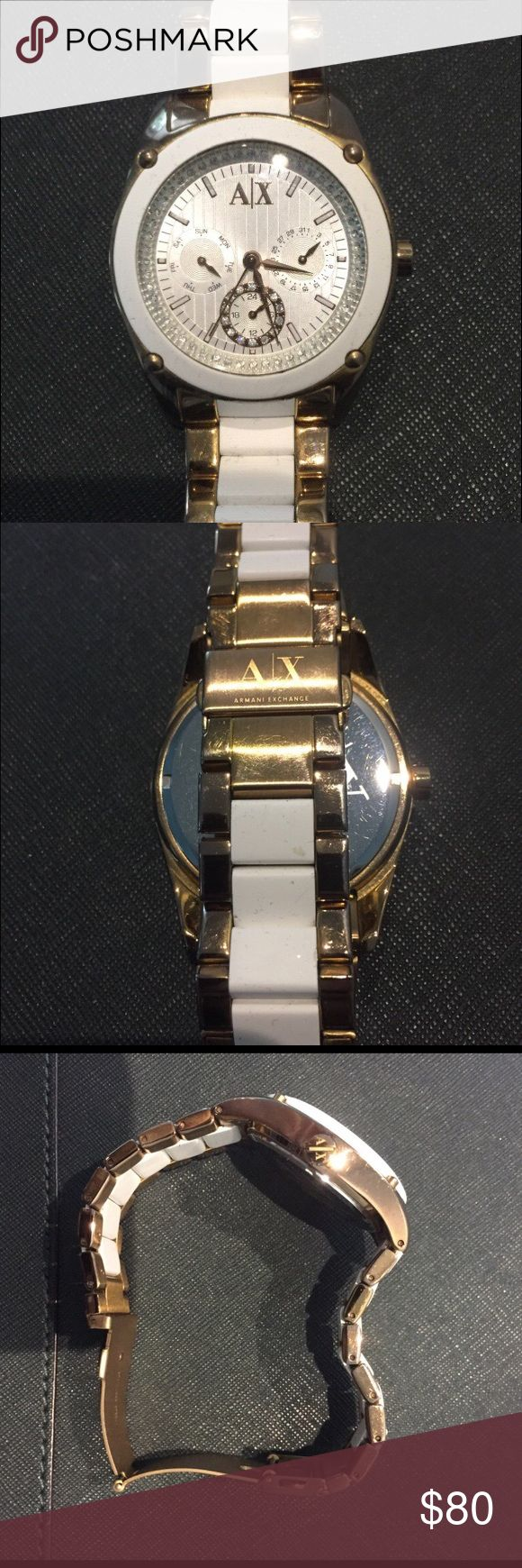 Armani Exchange Rose Gold Women's Watch Armani Exchange Ax 5036 Rose Gold two tone women's Watch. Barely used. Retail price is $240, looking for $80, price is negotiable. A/X Armani Exchange Accessories Watches